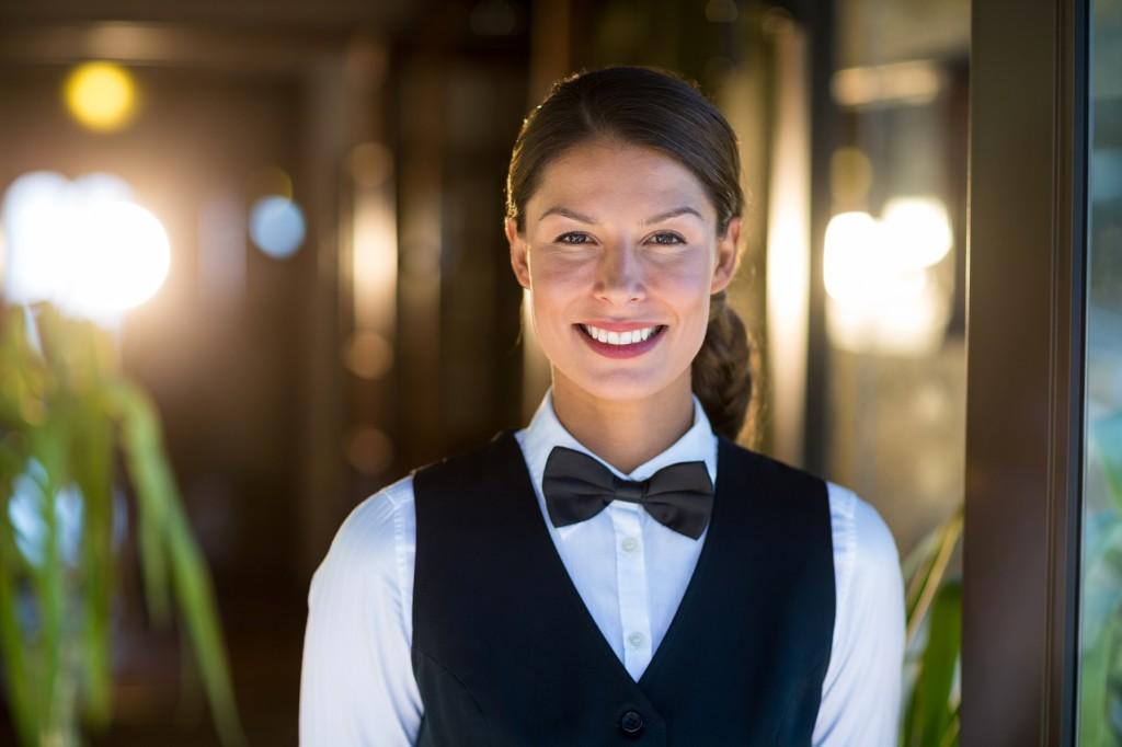 Portrait of smiling waitress